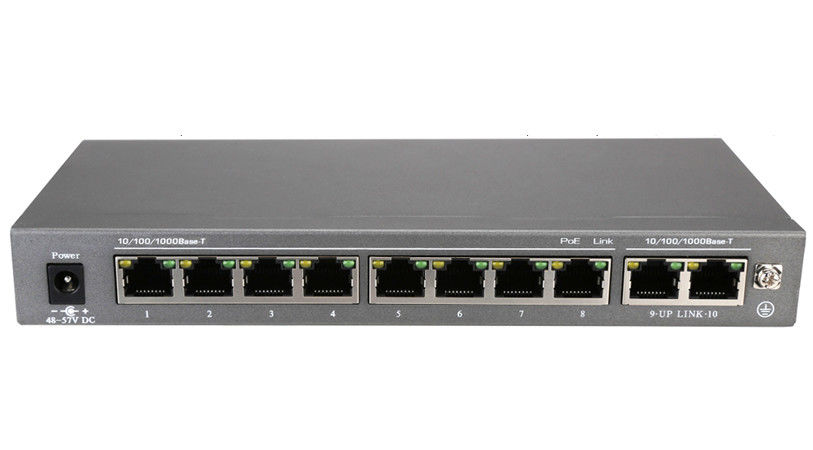 250W 10 100 1000Mbps 10 Port PoE Switch 207 * 95 * 26mm Port Power Automatically Assigned