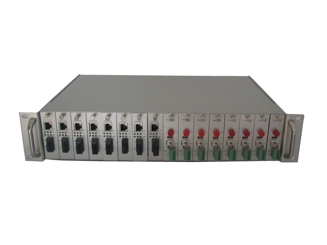 Auto Identify Single Power Rack Mount Fiber Media Converter 19 Inch Standard 2U 16 Slots